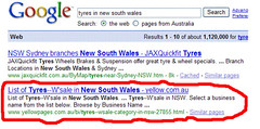 Australian Sensis Yellow Pages in SERPs