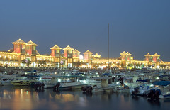 Full House (YaserQ8) Tags: building water yellow shop night boats gold lights post towers pole kuwait dhows q8 sarg maret eflection harbo yaserq8