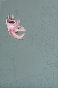In progress photo of as yet untitled drawing of a little girl.