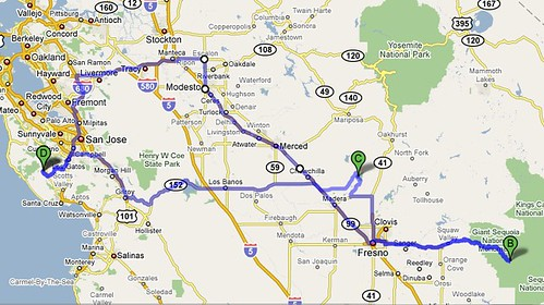 Route for our upcoming Camping Trip