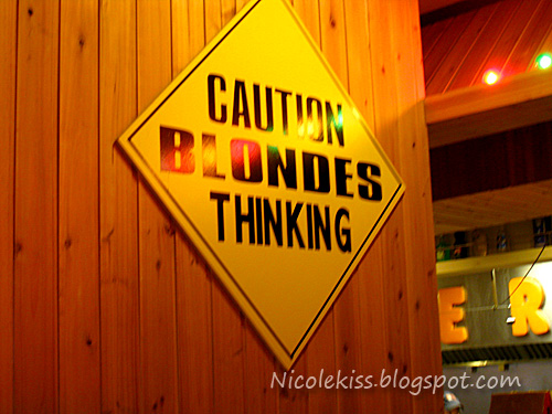 caution blonde thinking