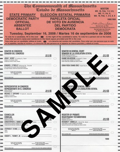 Commonwealth of Massachusetts State Primary Ballot - Tuesday, September 16th, 2008