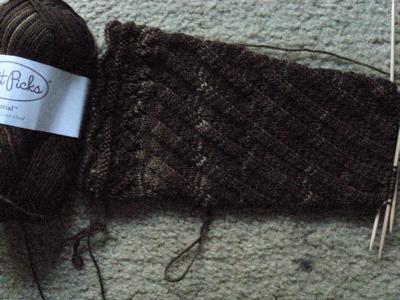 Spiral Boot Sock in progress