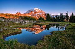 Elemental (Deborah (polarcollision)) Tags: sunset summer mountain reflection landscape washington alpine rainier tarn alpenglow spraypark