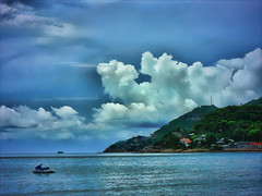 Samui (maistora) Tags: leica blue sea sky holiday hot color colour green beach clouds thailand island bay asia edited hill sunny resort thai kohsamui samui chaweng tropical handheld cape jetski hdr tonemapped 3exposure panasoniclumixfz7 maistora