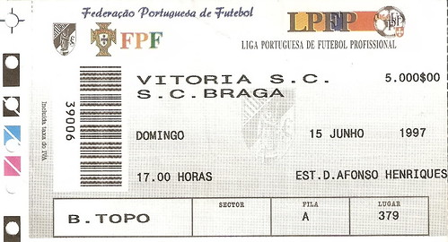 Jogo Vitoria de Guimarães vs Sporting de Braga
