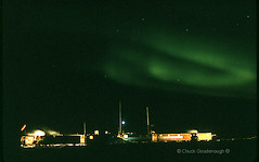 Stock Photo of Arctic Northern Lights over a Geophysical Camp out on the Ice of the Beaufort Sea (Chuck Goodenough) Tags: sea camp ice alaska lights research oil chuck northern zero beaufort gsi goodenough geophysical 40below