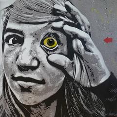 "Jef Arosol 2008 - ""Keep an Eye"" (Jef Aerosol) Tags: portrait streetart graffiti stencil pop spray urbanart jef spraypaint aerosol spraycan pochoir spraypaintart jefaerosol"