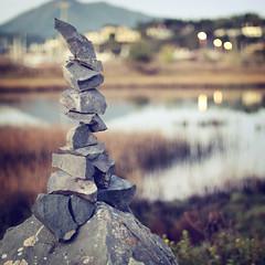 We Built This City (Karen.Strolia) Tags: pond rocks 10 zen stacked fav10