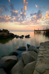 Infinity (Khaled A.K) Tags: longexposure sunset sea seascape clouds photography pier rocks filter nd sa saudiarabia khaled waterscape ksa saudia nd8 nd4 kashkari