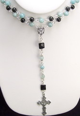 Sterling Silver Rosary (Maria White Designs) Tags: onyx swarovskipearls sterlingsilverrosarywithamazonite