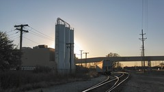 Sunset on an industrial siding. Chicago Illinois. October 2008.
