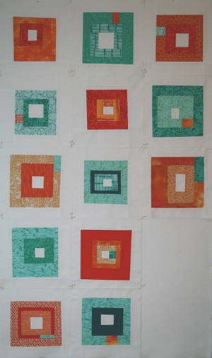 orange and teal quilt
