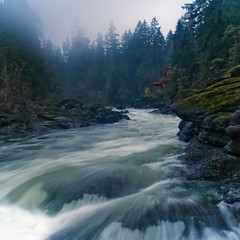 Upstream (Mike Bingley) Tags: longexposure november trees fog river square rocks dusk foggy nanaimo rapid 5x5 nanaimoriver