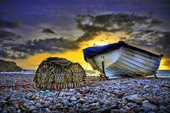 the world is turning (petervanallen) Tags: sunset seascape beach night clouds landscape boat nikon sundown pebbles hdr chesil lobsterpot d90 photomatix tonemapping