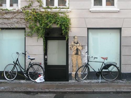 man and bikes.