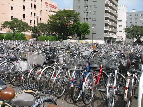 Bicycle parking lot in Musashi-sakai
