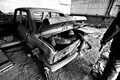 Anni di piombo (Funky64 (www.lucarossato.com)) Tags: auto abandoned car death gun decay rusty io morte pistola decayed terrorismo abbandono blackwhitephotos fiat128 regolamento robuk lucarossato piomo