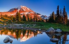 Evening Spray (Bryan Swan) Tags: park light sunset sky reflection colors washington mount national mountrainier rainier wa