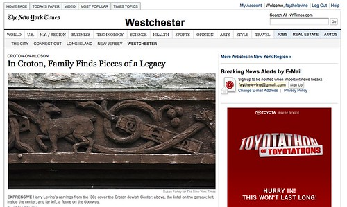 Woodcarver Great Grandpa Harry Levine in the NY Times on Sunday