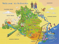 Map - Republic of Kalmykia, Russia (katya.) Tags: russia map drawing postcard  mapcard