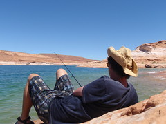 Mike fishing at The Chains, Glen Canyon