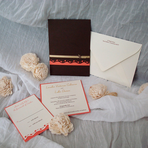 Ivory Orange and Brown Wedding Invitations