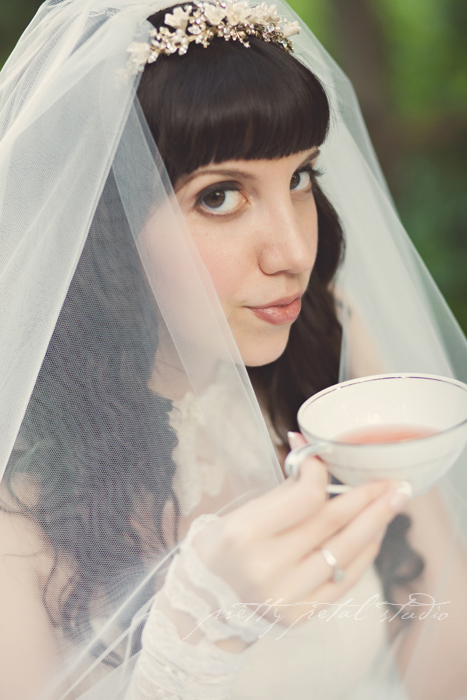pretty bride sipping tea