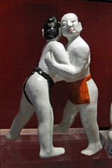 Figure of 2 sumo wrestlers, Ashmolean Museum, ...