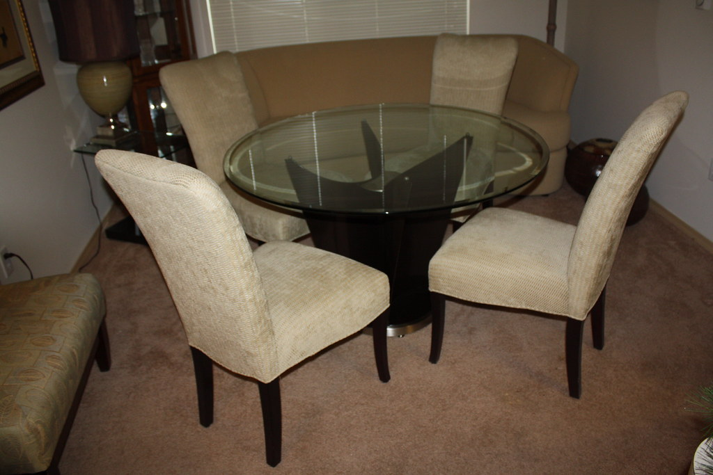 Contemporary Glass Dining Table with Heavy Duty Base & 4 Chairs - $800
