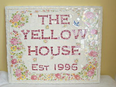 The Yellow House Mosaic House Plaque (lavenderhillstudio) Tags: china roses sign mosaic bluebird est houseplaque