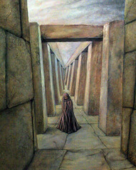 Stone Corridor under Sky (painting) and Corridor (poem) (faith goble) Tags: color art painting temple artist acrylic poem photog