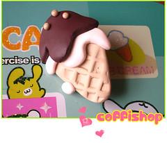 IL gelato (Coffilatte) Tags: cute ice coffee miniature diy yummy melting pin cone handmade chocolate brooch cream fresh polymerclay fimo clay icecream gelato kawaii sculpey melt cernit