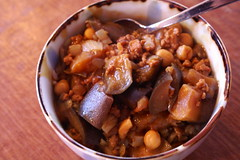curry rice w/ eggplant, ground pork, chickpeas + shimeji mushrooms