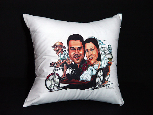 wedding couple caricatures on trishaw printed on cushion