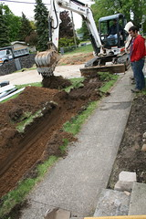 Making the trench for the pipe