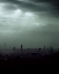 . lonesome town (di.SUN.ity) Tags: light shadow fog skyline clouds skyscraper germany dark licht smog nebel frankfurt wolken lonely schatten frankfurtammain dunkel wolkenkratzer ffm allein rickynelson disunity lonesometown katrinlindner