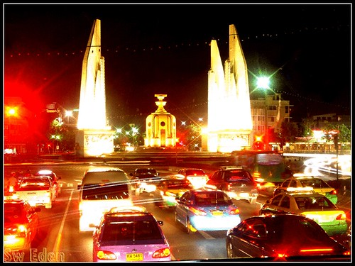Democracy Monument Bangkok by night