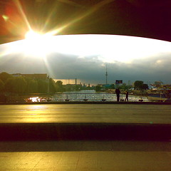 oberbaum (yanomano_) Tags: road sun alex water clouds square industrial earth surface holy brigde berlinfriedrichshain pigawards