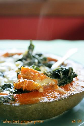 silver beet (pumpkin) gruyere gratin