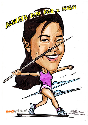 Caricature Events Architects throwing javelin