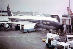 BOAC 707 (caribb) Tags: voyage uk travel england plane airplane flying gate bea unitedkingdom aircraft aviation flight jet machine aeroplane aerial apron transportation vol boeing 707 qantas departure britishairways airliner avion lhr voyages jetliner pacificwestern planespotting boac passengerplane speedbird passengerjet  vjet heathrowairportlondon