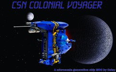 CSN Colonial Voyager (Catsy [CC]) Tags: classic lego space starship csf moc afol catsy microscale foitsop colonialvoyager lego:theme=space flickr:user=catsy lego:status=completed lego:scale=micro lego:theme=classicspace