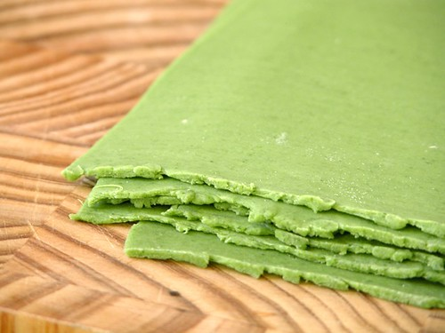Spinach pasta dough, rolled