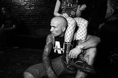 (* raymond) Tags: nyc bw newyork fashion rock punk tattoos fishnets pyramidclub combatboots