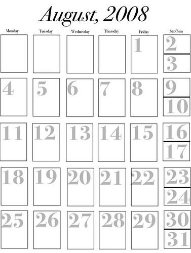 August 2008 calendar