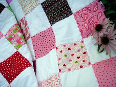 love patchwork quilt detail