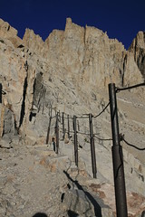 cable on 99 switchbacks (bertdennisonphotography) Tags: california blue red camp sky lake reflection water pine sunrise canon landscape rocks mt sierra summit lone mtwhitney eastern base mountians