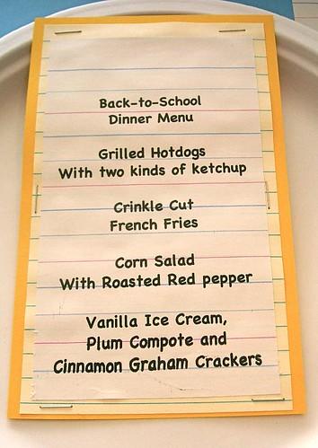 Back to school dinner menu