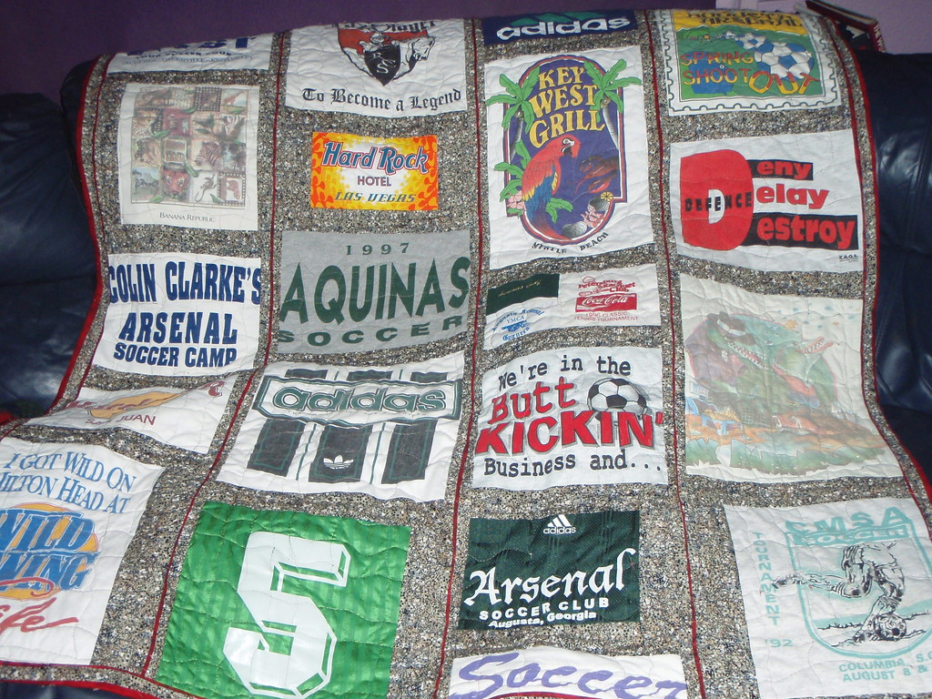 Sports themed t-shirt quilt-made by me